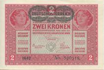 Autriche 2 Kronen Têtes de femmes - Surcharge verte