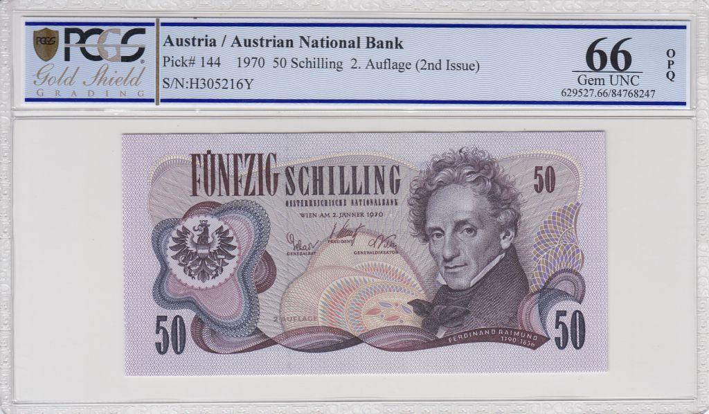 Autriche 50 Schilling F. Raimund - Théatre - PCGS 66 OPQ