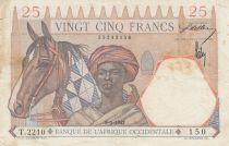 B A O 25 Francs  Touareg, Lion - Chiffres rouges - 09-01-1942 - Série T.2210