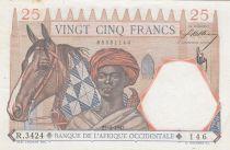 B A O 25 Francs 1942 - Homme et cheval, Lion - Chiffres rouges - Série R.3424