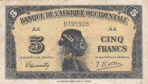 B A O 5 Francs 1942 - Tête de femme - Série AA