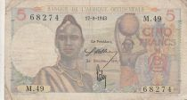 B A O 5 Francs 1943 - Femme, hommes en pirogue - Série M.49