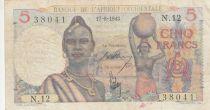 B A O 5 Francs 1943 - Femme, hommes en pirogue - Série N.12