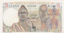 B A O 5 Francs 1949 - Jeune femme, porteur d\'eau, pêcheurs