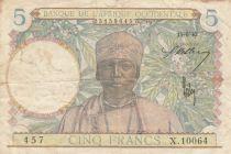 B A O 5 Francs Homme, tisserand - 15-06-1942 - Série X.10064 - TTB - P.25