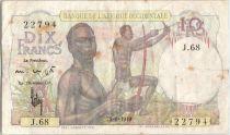 Banque de l´Afrique Occidentale 10 Francs Chasseurs - 1949