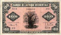 Banque de l´Afrique Occidentale 100 Francs Baobab - 1942