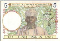 Banque de l´Afrique Occidentale 5 Francs Caféier - Tisseran - 1937 - Série S.2716