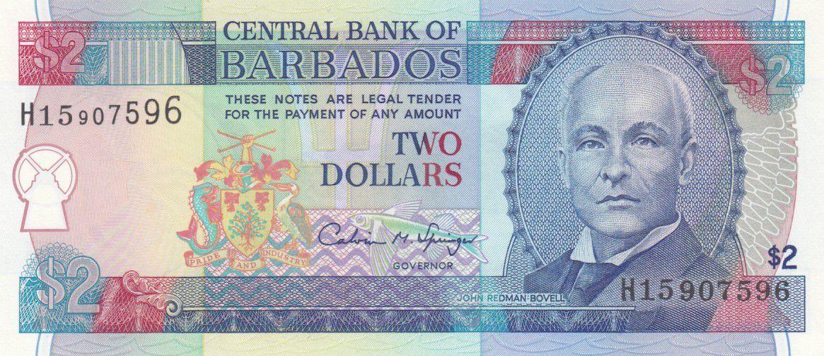 Barbade 2 Dollars J.R. Bovell - 1993 - P.42 - Neuf