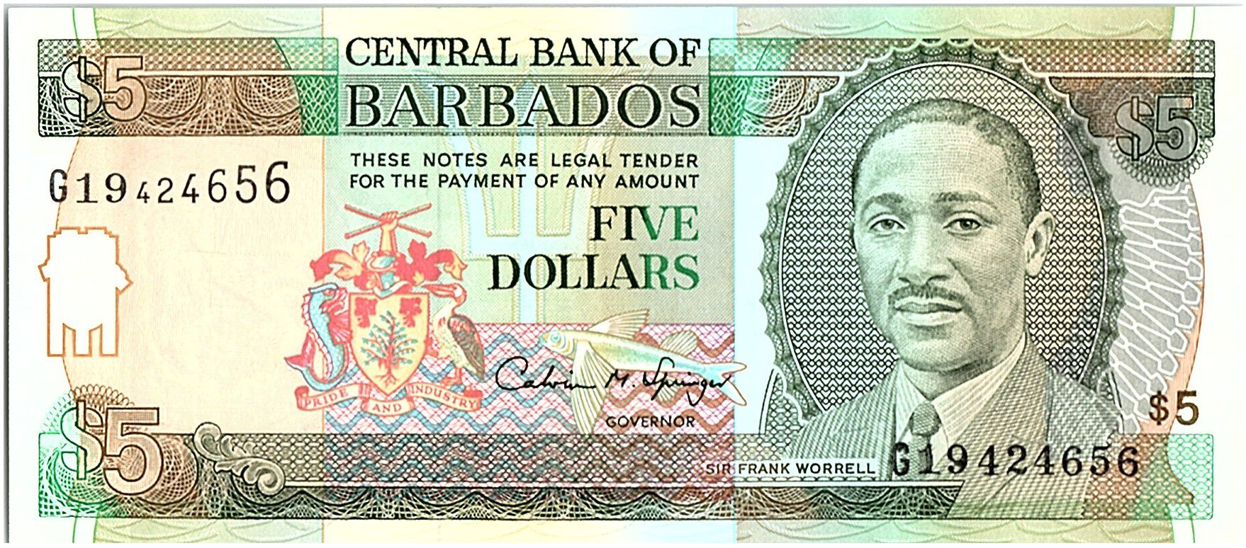 Barbade 5 Dollars, Sir Frank Worrell - Trafalgar square - 1996