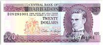 Barbados 20 Dollars, S.J. Prescod - Trafalgar square - 1988