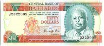 Barbados 50 Dollars, Errol Barrow - Trafalgar square - 1989