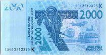 BCEAO 2000 Francs Masque - Hippopotames - 2015 K Sénégal