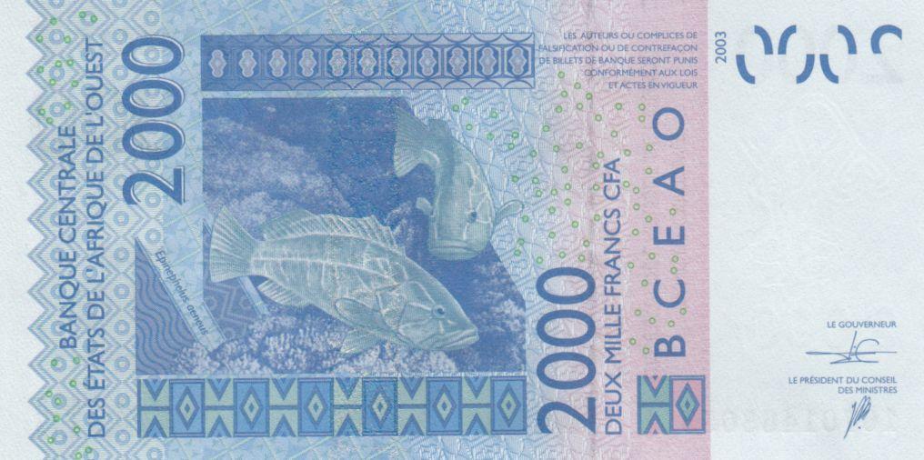 BCEAO 2000 Francs Masque -Poissons - Togo 2018