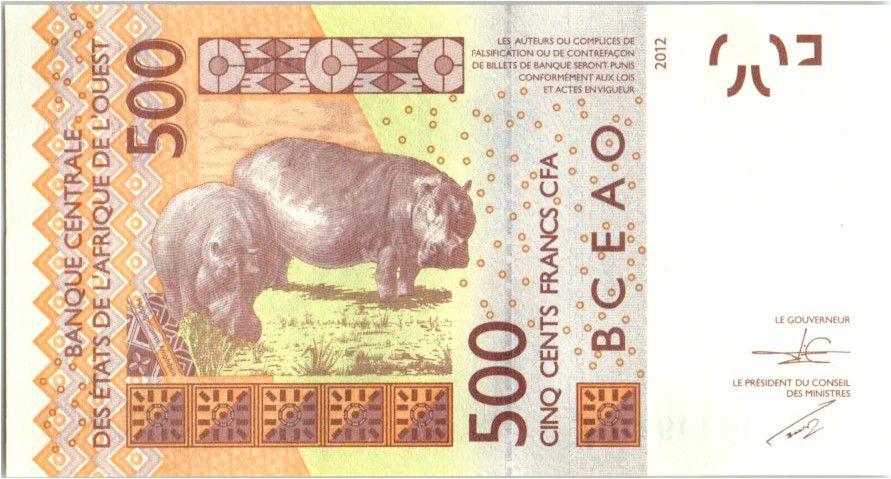 BCEAO 500 Francs Masque - Hippopotames - 2015 K Sénégal