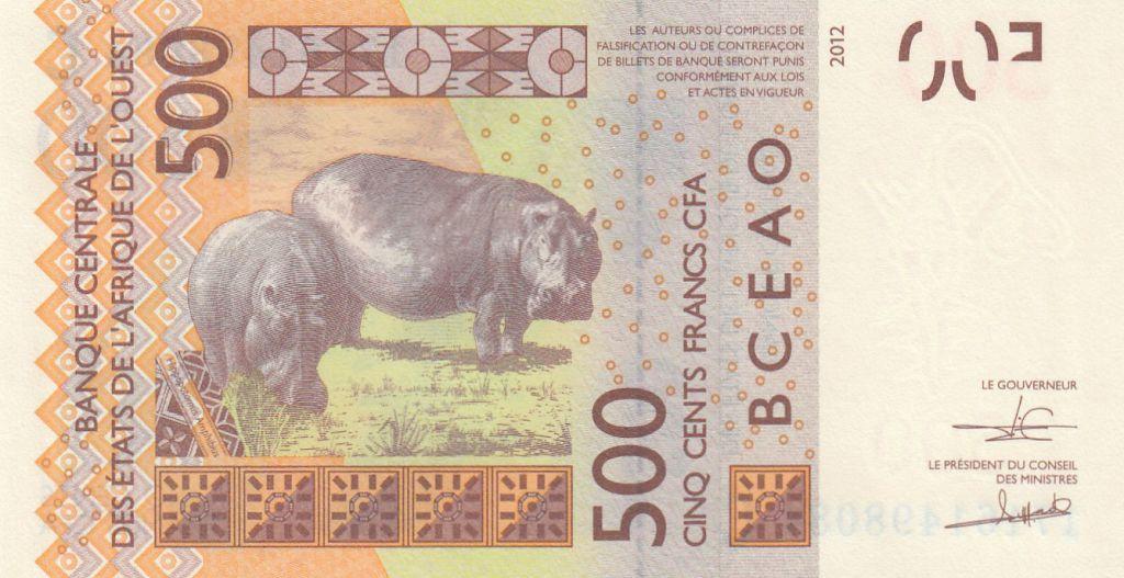 BCEAO 500 Francs Masque - Hippopotames - Burkina Faso 2017