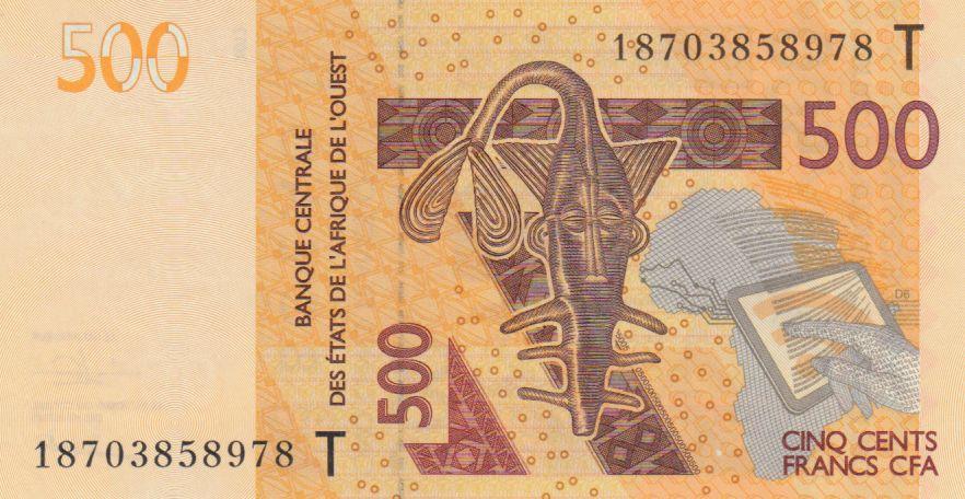 BCEAO 500 Francs Masque - Hippopotames - Togo 2018