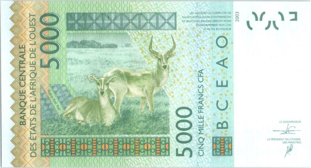 BCEAO 5000 Francs Masque - Antilopes - 2016 K Sénégal