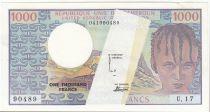 BEAC 1000 Francs 1974 - Fauté manque partiel d\'impression