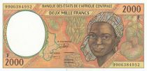 BEAC 2000 Francs 1999 - Jeune femme, navire - F = Rép centrafricaine