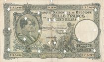 Bélgica 1000 Francs 12-12-1930 -Albert & Elizabeth, punched holes cancelation