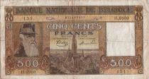 Bélgica 500 Francs 1945 Leopold II, Antwerp, Belgian Congo scene