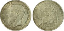 Belgien 50 Cents Leopold II - Arms - 1886 - PCGS UNC DETAILS
