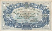 Belgio 500 Francs 14-10-1941 - Blue - Cancelled by perforations