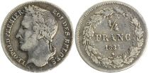 Belgique 1/4 Franc Leopold I - Tête Laurée - 1834