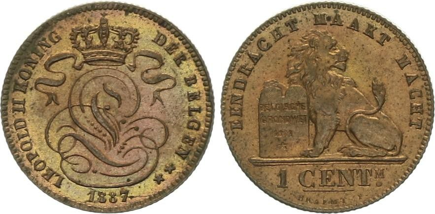 Belgique 1 Centime Léopold II - Lion - 1887