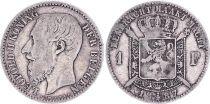 Belgique 1 Franc, Léopold II - Armories- 1887