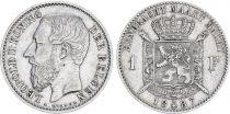 Belgique 1 Franc Leopold II - Armoiries - 1887