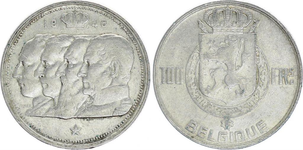 Belgique 100 Francs - 4 Rois - 1948 - Argent - TTB