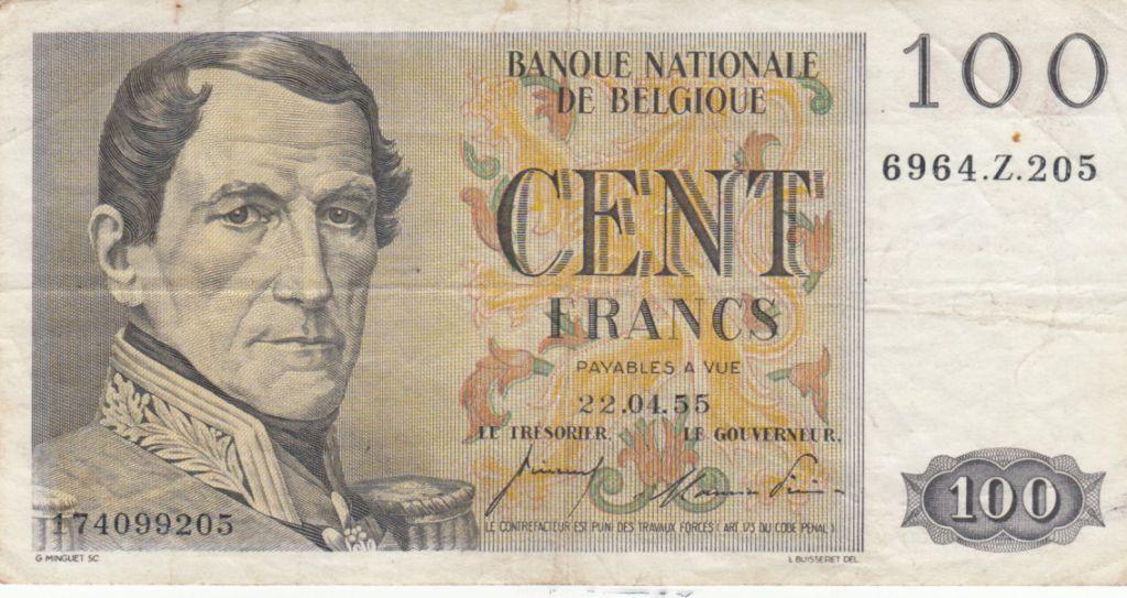 Belgique 100 Francs Leopold I - 22-04-1955 - TTB - P.129b