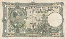 Belgique 1000 Francs 12-12-1930 -Albert & Elizabeth, annulé par perforations