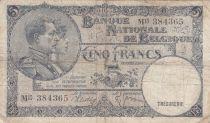 Belgique 5 Francs 30-03-1938 - Albert & Elizabeth