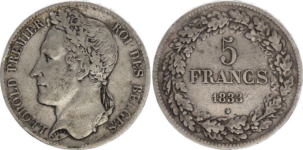 Belgique 5 Francs Leopold I - 1833