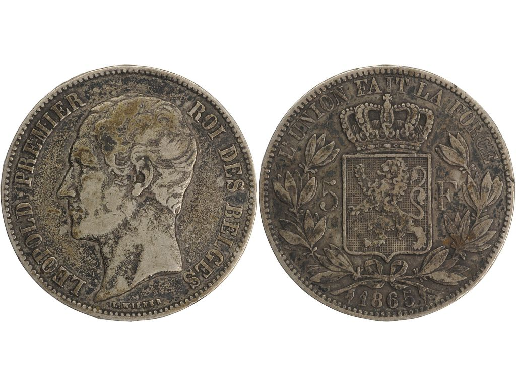 Belgique 5 Francs Leopold I - Armoiries - 1865
