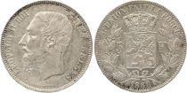 Belgique 5 Francs Léopold II - Armoiries - 1868  2 em ex