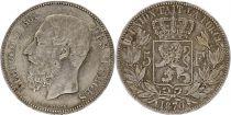 Belgique 5 Francs Léopold II - Armoiries - 1870 Argent