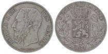 Belgique 5 Francs Léopold II - Armoiries - 1871