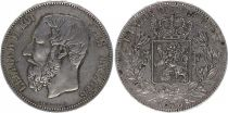 Belgique 5 Francs Leopold II - Armoiries - 1873