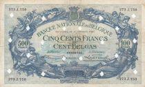 Belgique 500 Francs 14-10-1941 - Bleu - Annulé par perforations