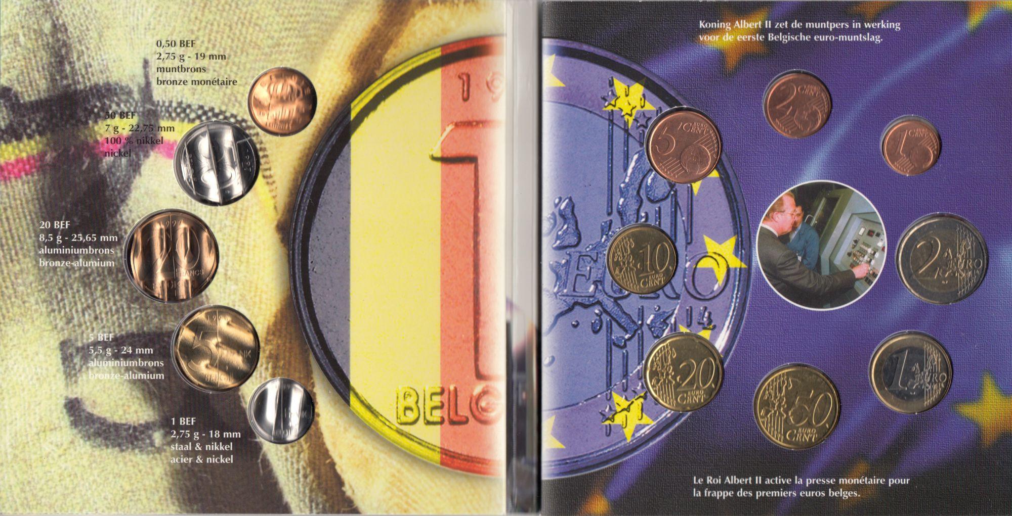 Belgique Coffret BU Belgique 2002 - 8 monnaies en euro + derniers francs annulés