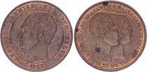 Belgique Médaille module de 10 Centimes Léopold I - Mariage du Duc et de la Duchesse de Brabant - 1853 - SUP