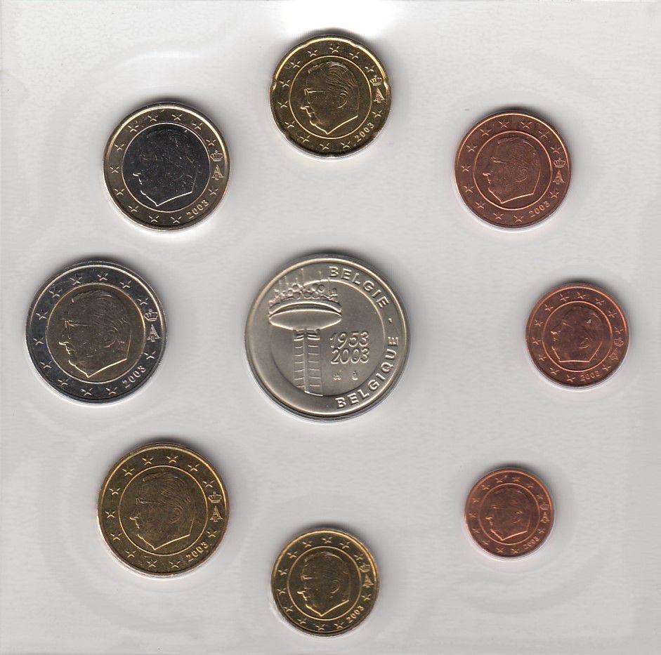 Belgique Série 8 monnaies BELGIQUE 2003