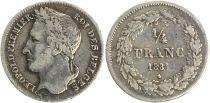 Belgium 1/4 Franc Leopold I - Tête Laurée - 1834