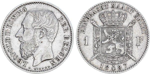 Belgium 1 Franc Leopold II - Arms - 1887
