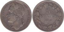 Belgium 5 Francs Leopold I - 1848