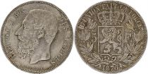 Belgium 5 Francs Leopold II - Arms - 1870 Silver